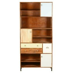 Made To Order Vivid Ammon Rustic Solid Wood Bookcase With Doors And Drawers