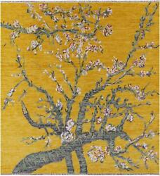 8and039 Square Almond Blossoms Design Handmade Modern Wool Rug - Q11694