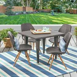 Cadlao Outdoor 5 Piece Wicker Dining Set By Chirstopher Multibrown N/a