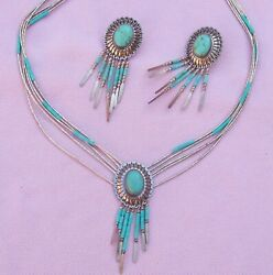 Vintage Lot Set Liquid Sterling Silver Turquoise Concho Dangle Earring Necklace