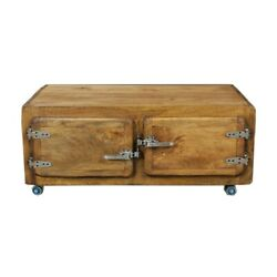 Cromer Solid Wood Fridge Door Rectangle Coffee Table With Storagemade To Order