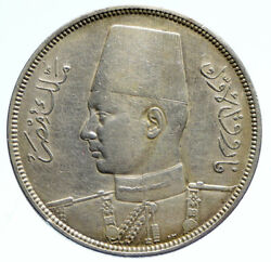 1937 1356ah Egypt With Sudan King Farouk Vintage Silver 10 Piastres Coin I96087