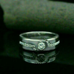 14k White Gold Modernist Engagement And Wedding Luxurious Menand039s Band 1.1ct Diamond