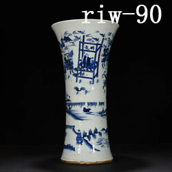 Antique Chinese Kangxi Of Qing Dynasty Blue And White Figure Pattern Vase