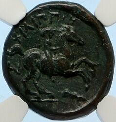 Macedonia Of Philip Ii Ancient Old Greek Coin Apollo Olympic Horse Ngc I95645