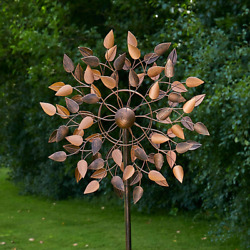 Leaf Wind Spinner Uv And Weather-resistant Finish With Copper Paint Garden Decor