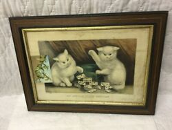 Antique Currier And Ives My Little White Kitties Playing Dominoes W Original Frame