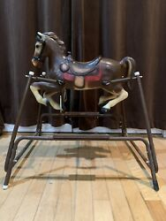 Rare Vintage Brown Plastic Spring Rocking Horse With Metal Frame A Ii A