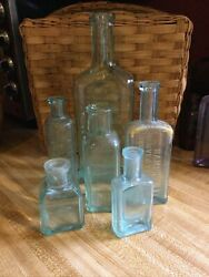 Lot Of 6 Teal Aqua Antique Cure And Medicine Bottles Collect Display