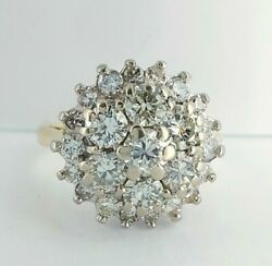 Beautiful Vintage 1978 18ct Gold And 1.50ct Diamond Cluster Engagement Ring Uk H/i