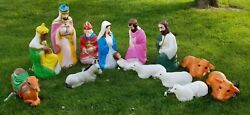 14 Pc. Empire Blow Mold Lighted Nativity Tall Set, Never Outdoors, No Fading