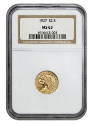 1927 2 1/2 Ngc Ms63 - 2.50 Indian Gold Coin - Great Type Coin