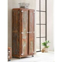 Cromer Retro Style Reclaimed Wood Wardrobe Cabinet 1.8m On Wheel Made To Order