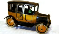 Working Vintage Windup Tin Toy 1925 Greppert And Kelch American Yellow Cab