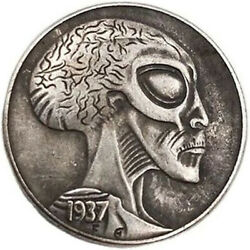 Hobo Nickel Coins Engraved Alien Art 1937 S US Buffalo 5 Cents Free Shipping #32 $9.95