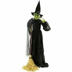 6ft Life-size Animatronic Witch Halloween Decoration Haunted Hill Farm