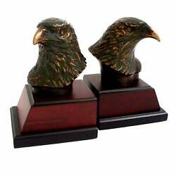 Cast Metal Bronze Finish Eagle Head Bookends Brown