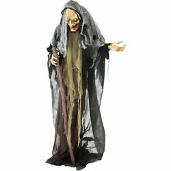5.2ft Animatronic Witch Halloween Decoration Haunted Hill Farm Life Size