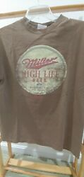 Miller High Life Graphic Tee Shirt Aaa Pigment Dyed Brown Sz M Mens S/s Vintage