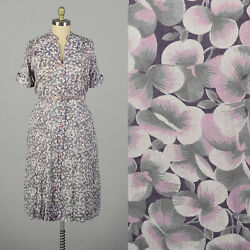 3xl 1950s Pink Pansy Print Day Dress Semi Sheer Short Sleeve Button Front Vtg
