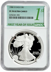 1986 S American Silver Eagle Proof Ngc Pf70 Ultra Cameo First Year Issue Label