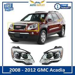 New Clear Lens Halogen Headlight Lamp Rh And Lh Pair Set For 2008-2012 Gmc Acadia