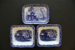 Antique George Jones Abbey 1790 3 Dishes Shedded Wheat Blue White. Ref 952