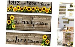 3 Pieces Sunflower Wood Front Decor Bless Our Family Wall Sign Sunflowers
