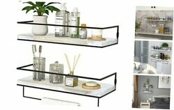 Floating Shelves for Wall Set of 2 Wall Mounted Storage Washed White 2