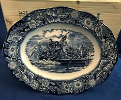 Staffordshire England Liberty Blue Historic Colonial Scenes Oval Platter 14