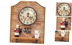 Chef Decorative Wall Mounted Clock with Key Holder for Kitchen Dinning Beige