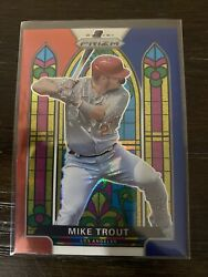 Mike Trout 2021 Panini Prizm Baseball Stained Glass Red White And Blue Prizm