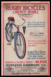 1918 Rugby Bicycles Liberty Model Shapleigh Hardware St Louis Vintage Print Ad $26.21