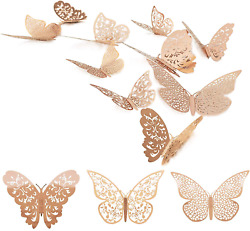 72 Pcs 3D Butterfly Wall Decals Sticker with Rose Gold Butterfly Decals Metallic