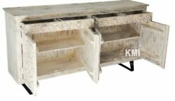 Made To Order Indian Wooden Chest Of Drawers Carved On Metal Legs 180x40x90