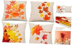 4 Pieces Autumn Pillow Case Fall Maple Leaves Pillow Cover Fall Pillows