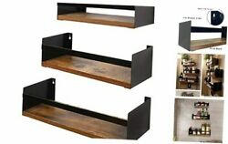 Black Floating Shelves for Wall Set of 3 Industrial Thick Wall Shelf 15.7quot;