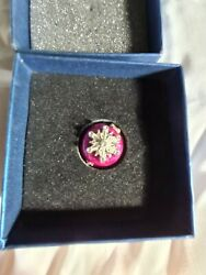 Jeweled Enamels Orchid Designs Small Pink Pin/trinket Box With Snowflake Design