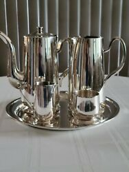 Vintage Dw Haber And Son Ny Silverplate 5pc Coffee Tea Service W/ Matching Pitcher