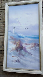 Oil Painting quot;Beach and Lighthousequot; canvas sighned 14quot; x 26quot; $29.99