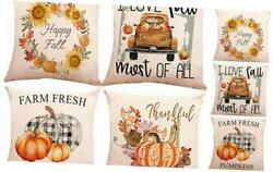 Autumn Pillow Covers 18 x 18 Inch Set of 4 Cotton Linen Fall 18x18 inch