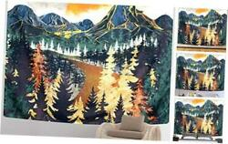 Mountain Tapestry Wall Hanging Forest Trees Art 70.9quot; x 92.5quot; Green Orange