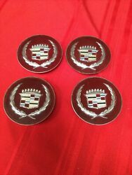 Set Of 4 Cadillac Fleetwood Red W Silver Crest Wheel Center Cap 4 Prong 3and1/2