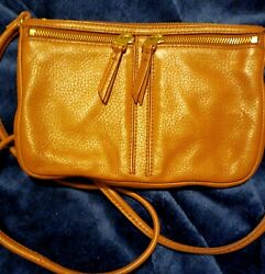 Fossil Caramel Brown Leather Crossbody Shoulder Bag Small