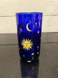 Sun Stars And Moon Design On Blue Glass Home Decor Collectible Glass