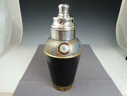 Rare Dunhill Sterling Silver And Floral Enamel Cocktail Shaker