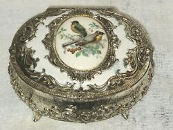 Vintage Made in Japan #x27;WAGTAIL#x27; Birds Silver Tone Footed 3.5quot; Trinket Box