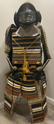 Vintage Japanese Samurai Armor W/ Helmet And Stand - No Shoulder Or Shin Guards