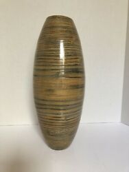 """14.5"""" Tall Bamboo Cylinder Vase - Natural Finish Statement Piece W/wo Flowers"""