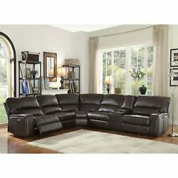 Acme Saul Espresso Leather-aire Sectional Sofa With Power Brown Modern And Contemp
